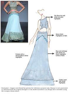 DIY Blue Net Lehenga Choli