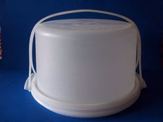 Tupperware Cake Taker Carrier with Strap Round Sheer White