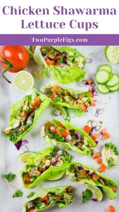 Craving succulent flavorful Chicken Shawarma? Serve these Chicken Shawarma Lettuce Cups as an easy healthy chicken recipe that packs all the flavors and spices of shawarma while still being low-carb and guilt-free! Duck Recipes, Turkey Recipes, Gourmet Recipes, Easy Recipes, Healthy Recipes, Fried Chicken Burger, Grilled Chicken Salad, Lettuce Cups, Healthy Chicken Dinner