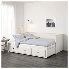 HEMNES Leżanka z 3 szufladami, 2 materace - biały, Malfors średnio twardy - IKEA