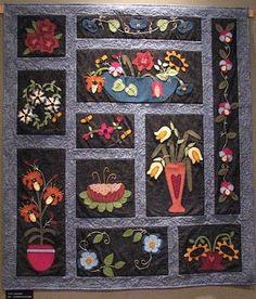 Sue Spargo folk art quilts, Flowerbed..