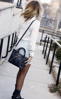 Powder Blue Suede Skirt & Patent Leather Lucite Heels - Quartz & Leisure
