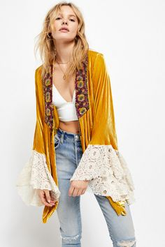 Wanderlust Jacket by Free People, Gold, XS Velvet Shorts, Velvet Jacket, Bohemian Mode, Bohemian Style, Boho Outfits, Cute Outfits, Mode Abaya, Blazer Jackets For Women, Free People Jacket