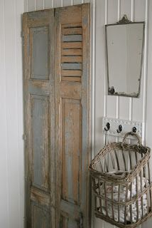 Stunning #shabby and #chippy   Love the basket hanging on the wall.