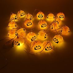 Halloween Decor Light Jack O Lantern Pumpkin Lights Water Proof String Light, 20 Pumpkins Feet No Battery Needed. For Costume Props Outdoors Indoors Trick or Treat No Battery Needed