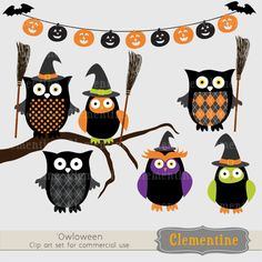 New halloween owl clip art set