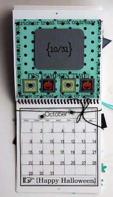 @Elizabeth Carney created this wonderful Calendar using SRM's 6 x 6 calendar, calendar months, calendar numbers and other assorted SRM Stickers.  October