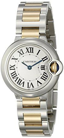 Cartier Women's W69007Z3 Ballon Bleu Stainless Steel and 18K Gold Watch -Designed with delicate two-tone gold accents . The timepiece is constructed with a stainless steel case, a stationary round stainless steel bezel, and an 18-karat-gold and stainless steel link bracelet with a secure deployment buckle. A scratch-resistant sapphire window shields the silvered-opaline dial, which features Roman numeral hour markers and slim minute indexes. Swiss-quartz movement.(affiliate link)