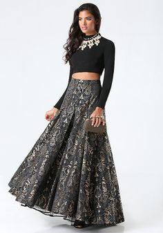 ce1d2c57cb488b Jacquard 2-Piece Gown. Maxi Skirt Crop TopCrop ...