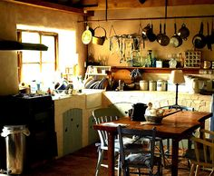 Storybook Kitchen The real life Weasley kitchen!The real life Weasley kitchen! Bohemian Kitchen, Eclectic Kitchen, Cozy Kitchen, Rustic Kitchen, Country Kitchen, Kitchen Dining, Kitchen Decor, Kitchen Counters, Storybook Cottage