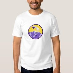 Paragliding Alps Mountains Circle Retro T-shirt. Illustration of paragliding using paraglider airborne and in flight with alps mountains sunburst in background set inside circle done in retro style. #Illustration #ParaglidingAlpsMountains