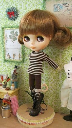Brown and Cream Striped shirt and socks set for BLYTHE