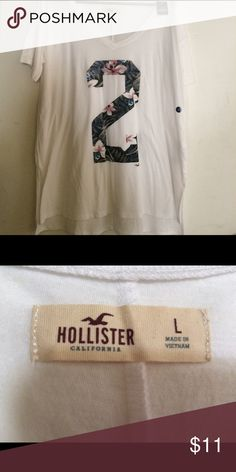 Hollister Girls Large Long shirt Hollister girls long shirt. It's a size large with the number 2 on the front. This will be perfect for summer time for a cover-up for a bathing suit. Hollister Shirts & Tops Tees - Short Sleeve
