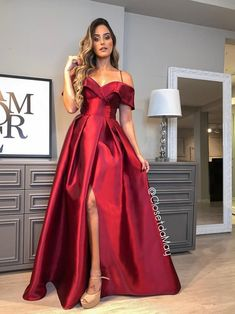 Off the Shoulder A-line Spaghetti Straps Evening Dresses,Long Prom Dresses,Floor Length Party Dresses with Side Slit on Storenvy Pretty Prom Dresses, Red Wedding Dresses, Gala Dresses, Homecoming Dresses, Cute Dresses, Beautiful Dresses, Bridesmaid Dresses, Red Lace Prom Dress, Long Dresses