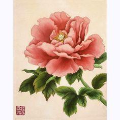 [투데이클래스 작품] 모란도_중국 민화 작품 모사, 변형작품_분홍색 배경 모란꽃 : 네이버 블로그