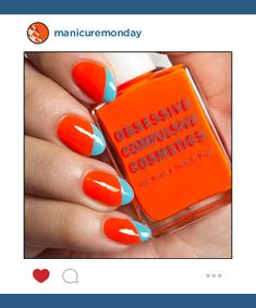 Mani of the Week: This sassy colorblock nail art design uses Obsessive Compulsive Cosmetics Nail Lacquers in Beta and Pool Boy for a bold orange and blue contrast that screams summer.