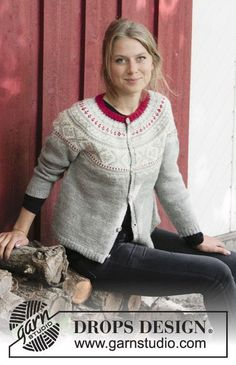 Knitted jacket with round yoke, multi-coloured Norwegian pattern and A-shape, worked top down. Sizes S - XXXL. The piece is worked in DROPS Karisma.