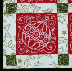 Advanced Embroidery Designs. Free Projects and Ideas. Quilted Christmas Placemats with machine embroidery.