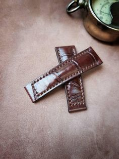 Alligator Leather Watch Strap - Brown Watch Band -fit for deployment clasp Brown Leather Brown Alligator Watch Bands, Rolex, Brown Leather, My Etsy Shop, Watches, Wallet, Trending Outfits, Unique Jewelry, Check