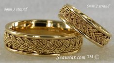 8mm and 6mm Turks Head wedding bands from seawear