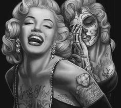 Résultats Google Recherche d'images correspondant à http://www.tattooset.com/images/tattoo/2012/07/18/6470-marilyn-retrato-catrina_large.jpg