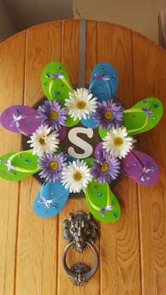 Lilac, lime, and turquoise flip flop wreath with rhinestones and daisies