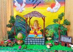 Ganpati Decoration Theme, Mandir Decoration, Ganapati Decoration, Class Decoration, Diy Diwali Decorations, Stage Decorations, Festival Decorations, Waterfall Decoration, Ganesh Chaturthi Decoration