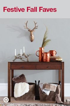 Bring the season into your home for Thanksgiving with antler motifs, fall hues, faux fur and more.