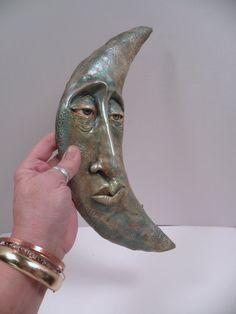 SALE ooak moon face hand sculpted one of a kind fantasy art by DinkyDarlings