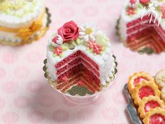 Coral Pink Velvet Layer Cake Decorated with Hand-sculpted Rose - Miniature Food…