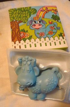 Vintage Avon Blue Moo Soap On A Rope 5 oz New In Box 1972