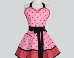 Sexy Retro Pinup Aprons . Flirty and Cute Retro Womans Apron in Pink and Red Dots Apron and Vintage Style Full Skirt