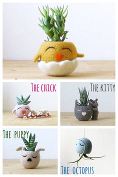 HAPPY CHICK / Felt succulent planter  / cactus vase / Animal planter / mustard yellow / Easter decor / spring gift - Choose your color!