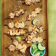 Shrimp Recipes, Wine Recipes, Grilling Recipes, Cooking Recipes, Tapas, Shrimp Skewers, Paleo, Toasted Coconut, Coconut Milk