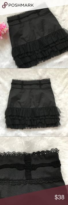 "Twelve By Twelve Black Ruffle Skirt Medium Like new skirt with layers of tulle trim at the hem. Side zip. Flat across waist approx 14.5"", length approx 18"" Twelve by Twelve Skirts"