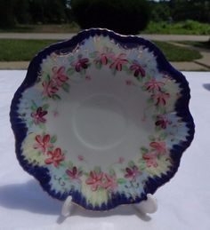 NIPPON CHINA COBALT BLUE BEADED TRIM HAND PAINTED SCALLOPED PLATE #NIPPON