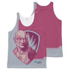 Guardians of the Galaxy Vol. 2   Drax Badge All-Over-Print Tank Top   Marvel Comics Tank Tops For Teens and For Women   Marvel Fans