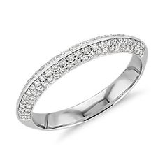 Why We Love It This white gold knife edge engagement ring features 4 rows of tiny pavé-set diamonds partway around the shank as the perfect compliment to the center diamond of your choice. White Gold Wedding Bands, Wedding Rings, Wedding Engagement, Anniversary Bands, Eternity Bands, White Gold Diamonds, Diamond Engagement Rings, Fashion Jewelry, Blue Nile