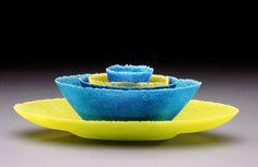 Pate de Verre (vessel that looks boat like) Unfolding II | Deborah Horrell | Portland, Oregon Artist