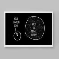Printable wall art comfort zone where magic happens by alldigitall