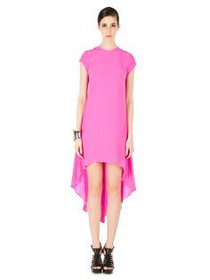 Nha Khanh spring 2012 RTW pink silk cap sleeve high low dress