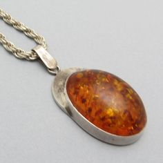 Large Sterling Amber Pendant C7176 by PurpleDaisyJewelry on Etsy
