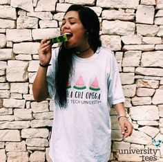 firm believer in oversized tshirts and excessive watermelon consumption | Alpha Chi Omega | Made by University Tees | http://www.universitytees.com