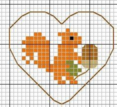 Automne-ecureuil hama perler beads pattern Plus Fall Cross Stitch, Tiny Cross Stitch, Cross Stitch Heart, Simple Cross Stitch, Cross Stitch Animals, Modern Cross Stitch, Cross Stitch Designs, Cross Stitch Patterns, Pony Bead Patterns