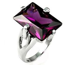 White Gold Rhodium Bonded Ring with a Radiant Cut Amethyst CZ in a Prong Setting in Silvertone Purple Rings, Purple Jewelry, Amethyst Jewelry, Jewelry Rings, Jewelry Box, Jewelery, Jewelry Watches, Purple Mirror, Vanitas