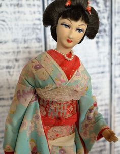 Vintage 1940s Silk Skin Geisha Doll RARE Blue Kimono Nishi Sakura Ningyo Japan  | Collectibles, Cultures & Ethnicities, Asian | eBay!