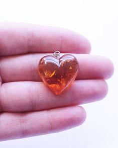 Vintage Baltic Amber Heart Pendant #Pendant