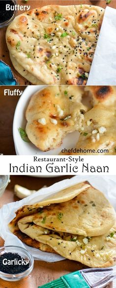 Indian Garlic Naan Bread for Easy Indian Dinner at Home. A quintessential Indian bread served in every Indian Eatery, Garlic Naan is heart-throb of million Indian Cuisine Lovers! No Need of Special Oven - Sharing an easy Stove Top cooking method | chefdehome.com