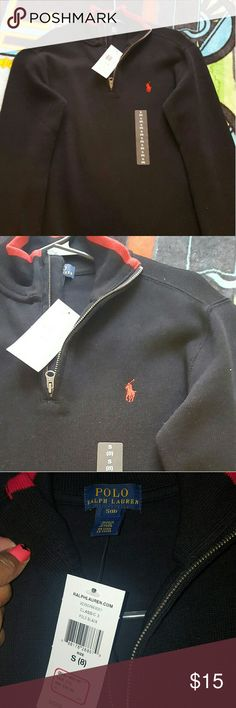 Ralph Lauren boys Shirt Ralph Lauren Polo boys shirt, black with red trim and logo, brand new never worn, zipper pull over boys size 8 Polo by Ralph Lauren Shirts & Tops Polos