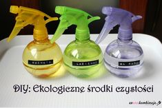 naturalne_srodki_srodki_czyszczace Spray Bottle, Cleaning Supplies, Dyi, Life Hacks, Diy And Crafts, Projects To Try, Homemade, Health, Zero Waste